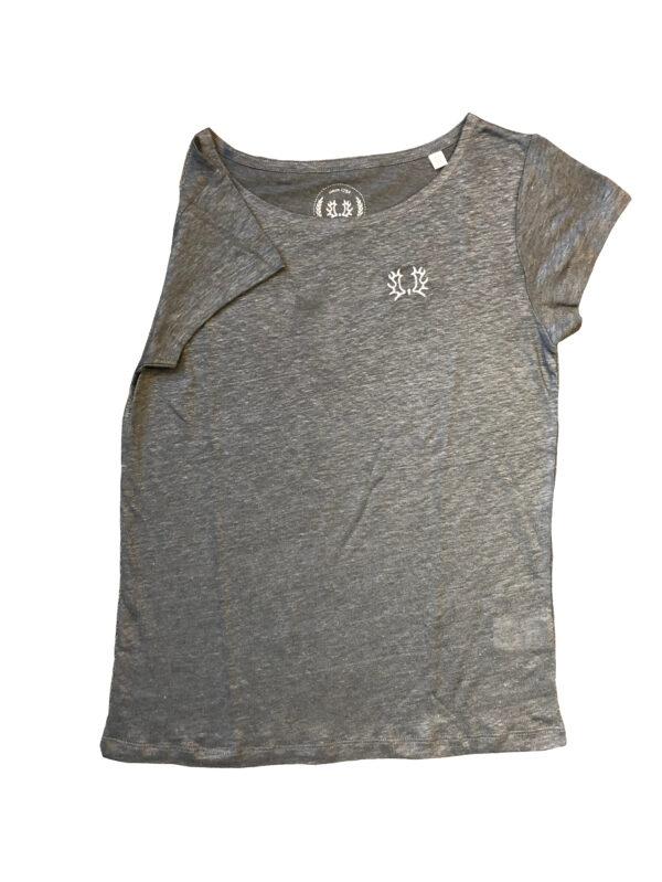 Leinen-T-Shirt Damen grau VS_g